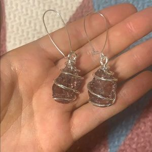 Free people silver and Crystal like earrings